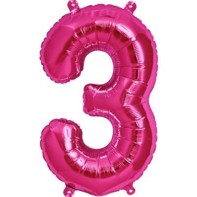 Balão numero 3 rosa