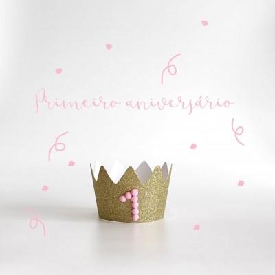 Coroa primeiro aniversário rosa