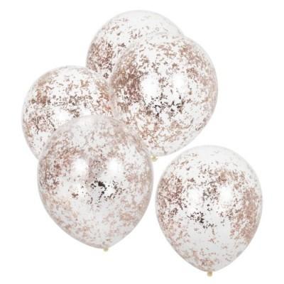 Balões confetis rose gold