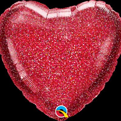 Balão coração glitter vermelho