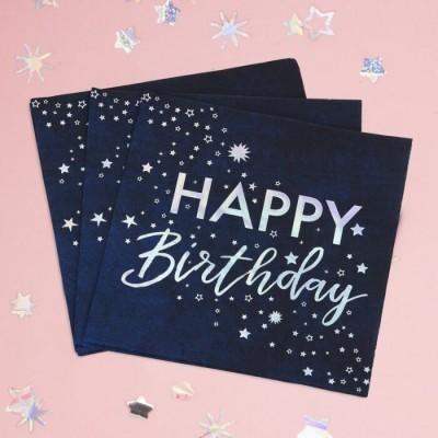Guardanapos happy birthday azul
