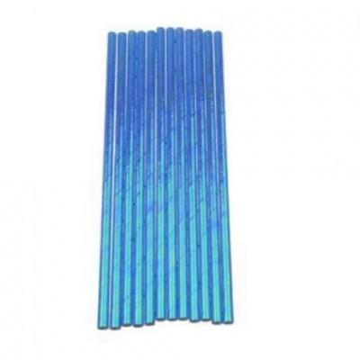 Palhinhas de papel iridescentes azul