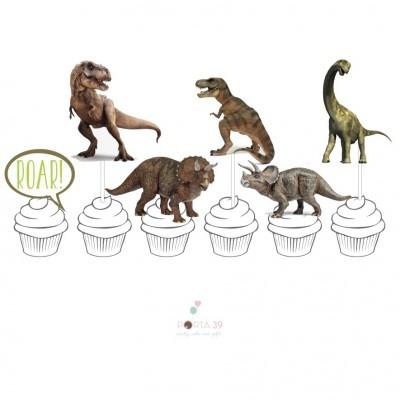 Topos para cupcakes dinossauros