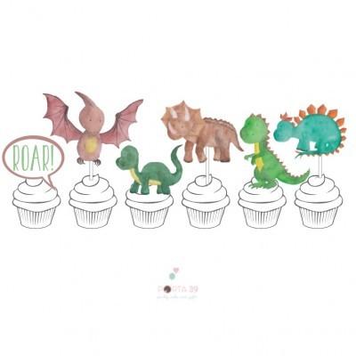 Topos para cupcakes dinos divertidos