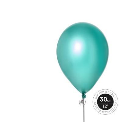 Conjunto balões latéx verde metalizado