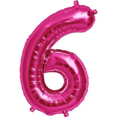 Balão numero 6 rosa