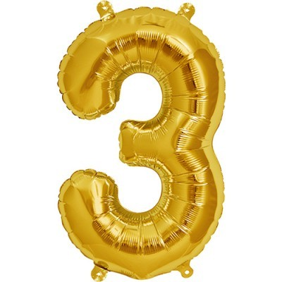 Balão numero 3 dourado