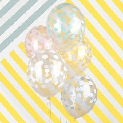 Balões confetis impressos pastel