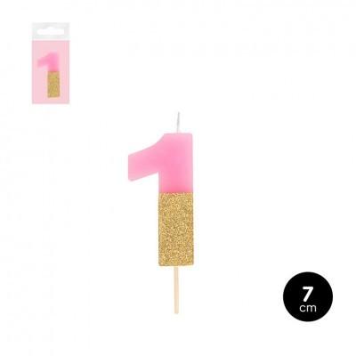 Vela numero rosa com purpurinas douradas