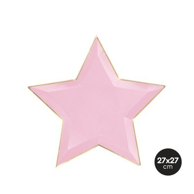 Pratos estrela rosa pastel