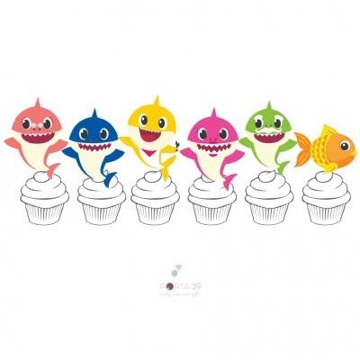 Topos para cupcakes baby shark