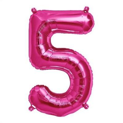 Balão numero 5 rosa