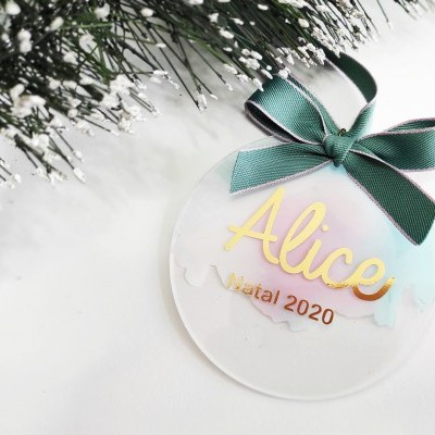 Bola Natal acrílico pastel personalizada