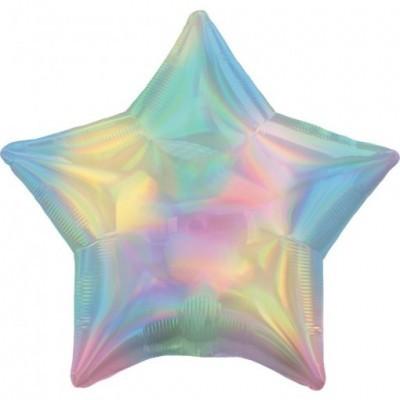 Balão estrela iridescente pastel