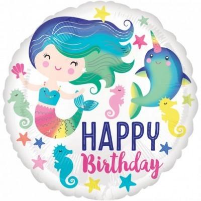 Balão sereia HAPPY BIRTHDAY