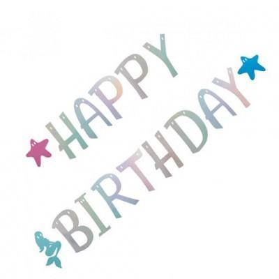 Banner sereia Happy birthday