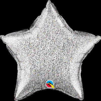 Balão estrela glitter prata