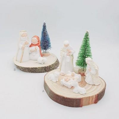 Sagrada Família em tronco madeira | MÉDIO