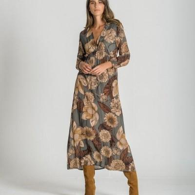Vestido Padrão Flor Ruga