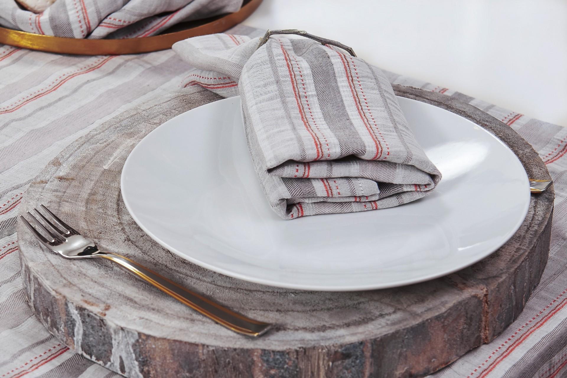 Têxteis de Mesa - Riscas Coral