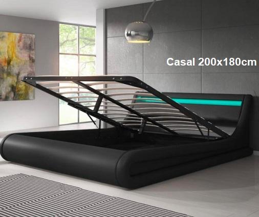 Cama de Casal 200X180cm com Estrado elevatório - Disponível em 3 cores