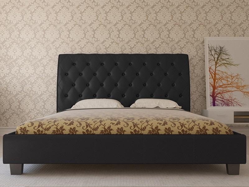 Cama de Casal Capitoné com estrado incluído e cabeceira de cama - Disponível em 3 cores e 3 medidas