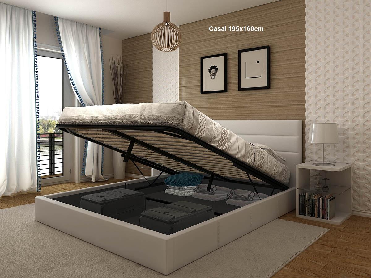 Cama de Casal Confort com estrado elevatório 195x160cm - Disponível em 2 cores