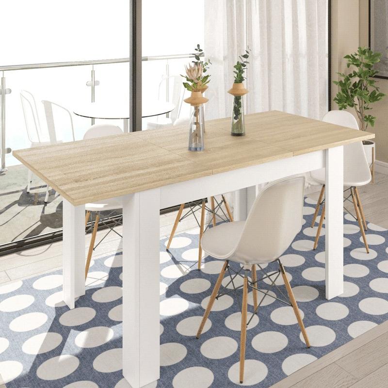 Mesa de Refeições extensível, 3 cores disponíveis