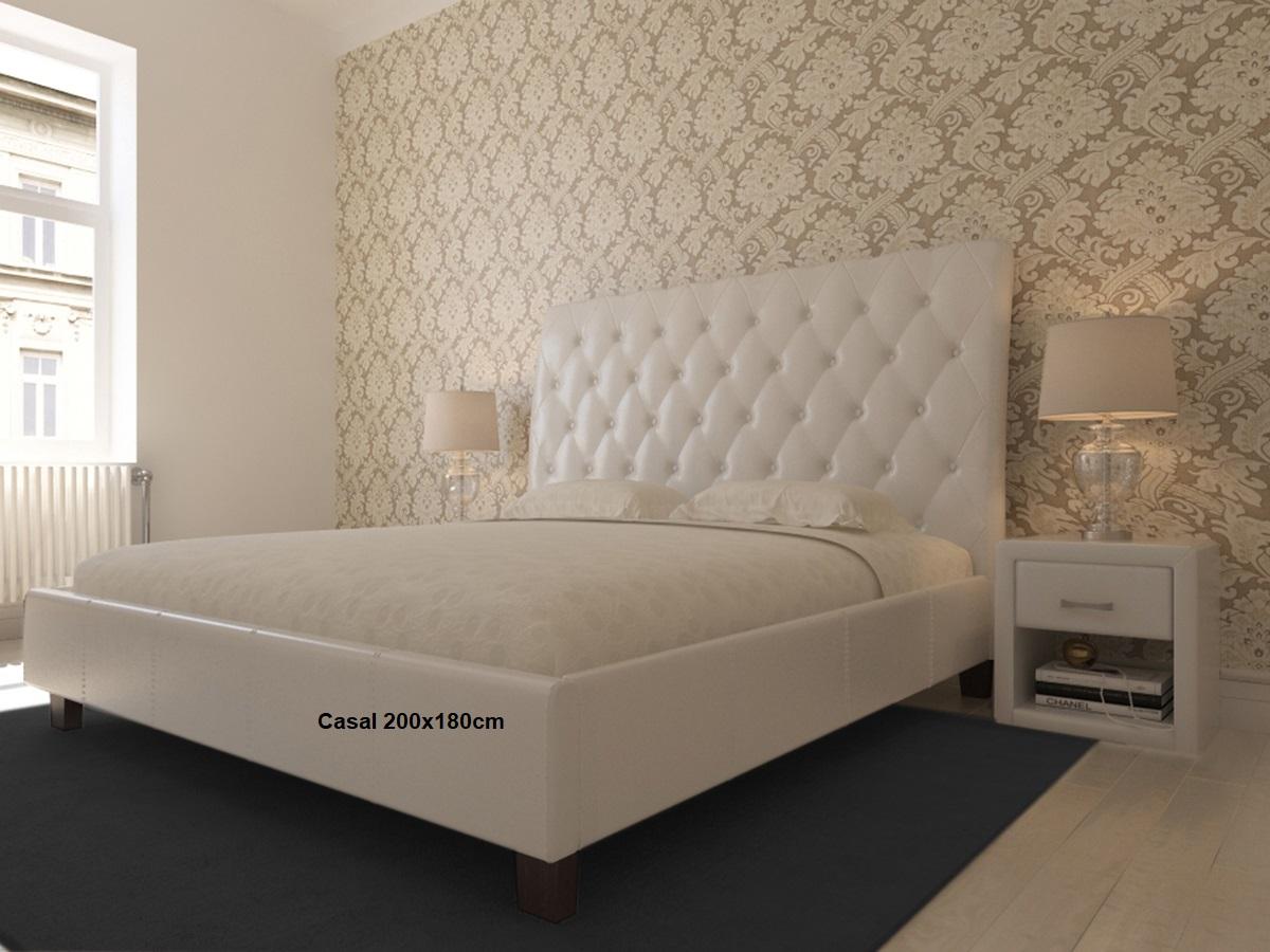 Cama de Casal 200x180cm Capitoné com estrado incluído e cabeceira de cama - Disponível em 2 cores