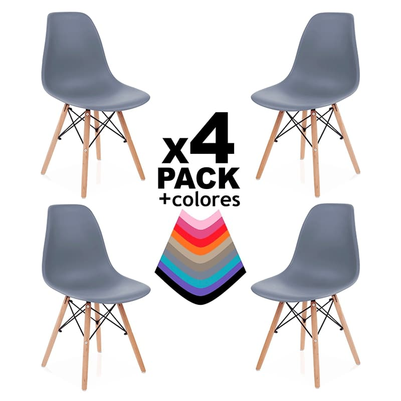 Pack 4 Cadeiras Tower Wood - Disponível em 11 cores