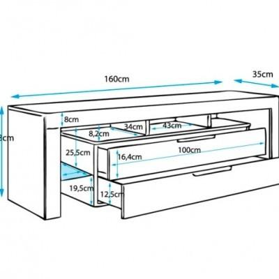 Móvel de Tv Say - 2 Gavetas e Luz LED, 2 cores disponíveis