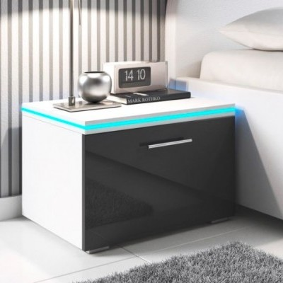 Mesinha de Cabeceira com luz LED e gaveta - Disponível em 2 cores