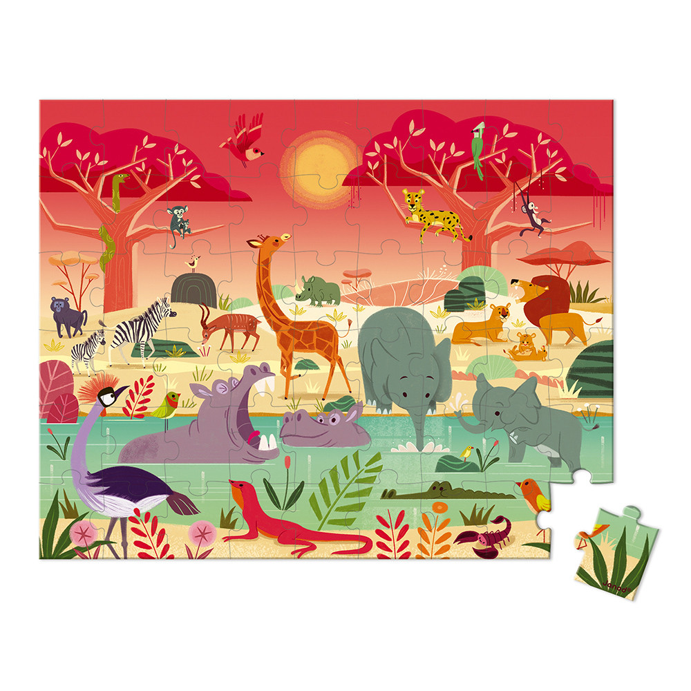 Puzzle Reserva natural de animais [54 peças]