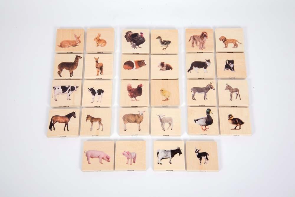 Animais domésticos - jogo de pares [madeira]
