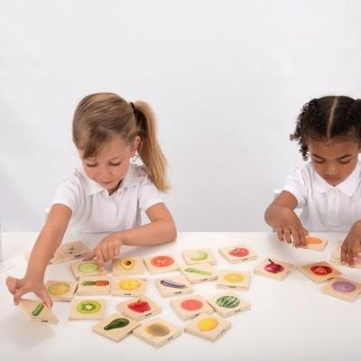 Frutas e legumes - jogo de pares [madeira]