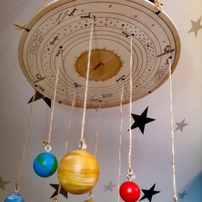 Sistema Solar suspenso - com duas bases [madeira]