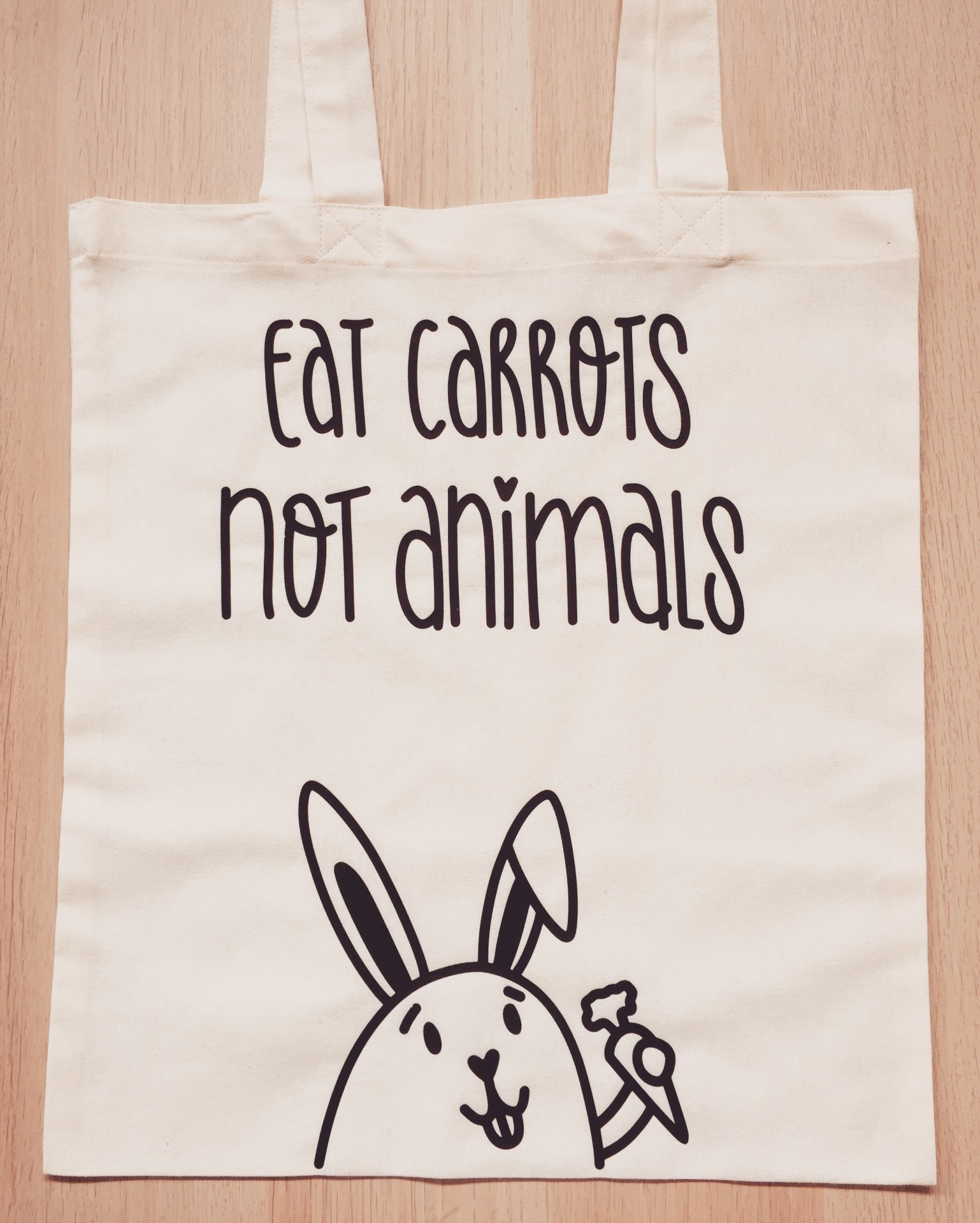 Tote Bag Bege   Eat Carrots Not Animals