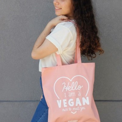 Tote Bag Rosa | Hello, I am a Vegan