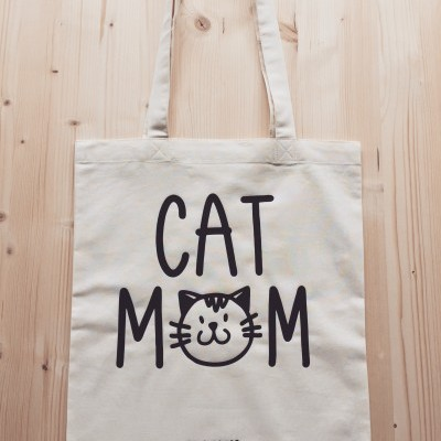 Tote Bag Bege | Cat Mom