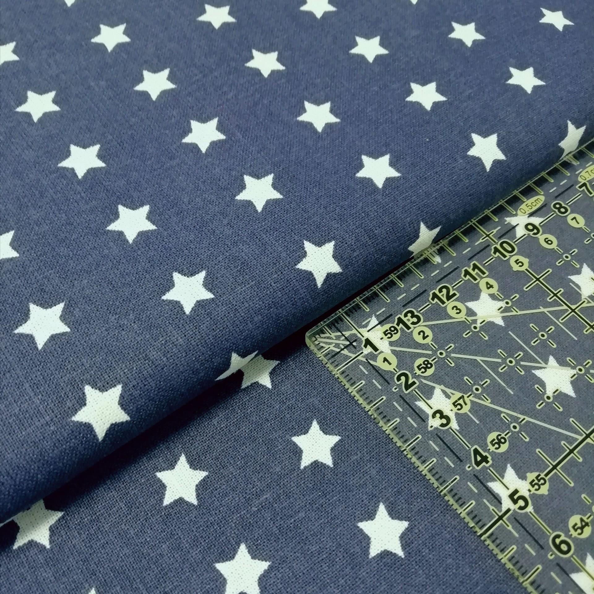 Tecido Estrelas brancas fundo navy