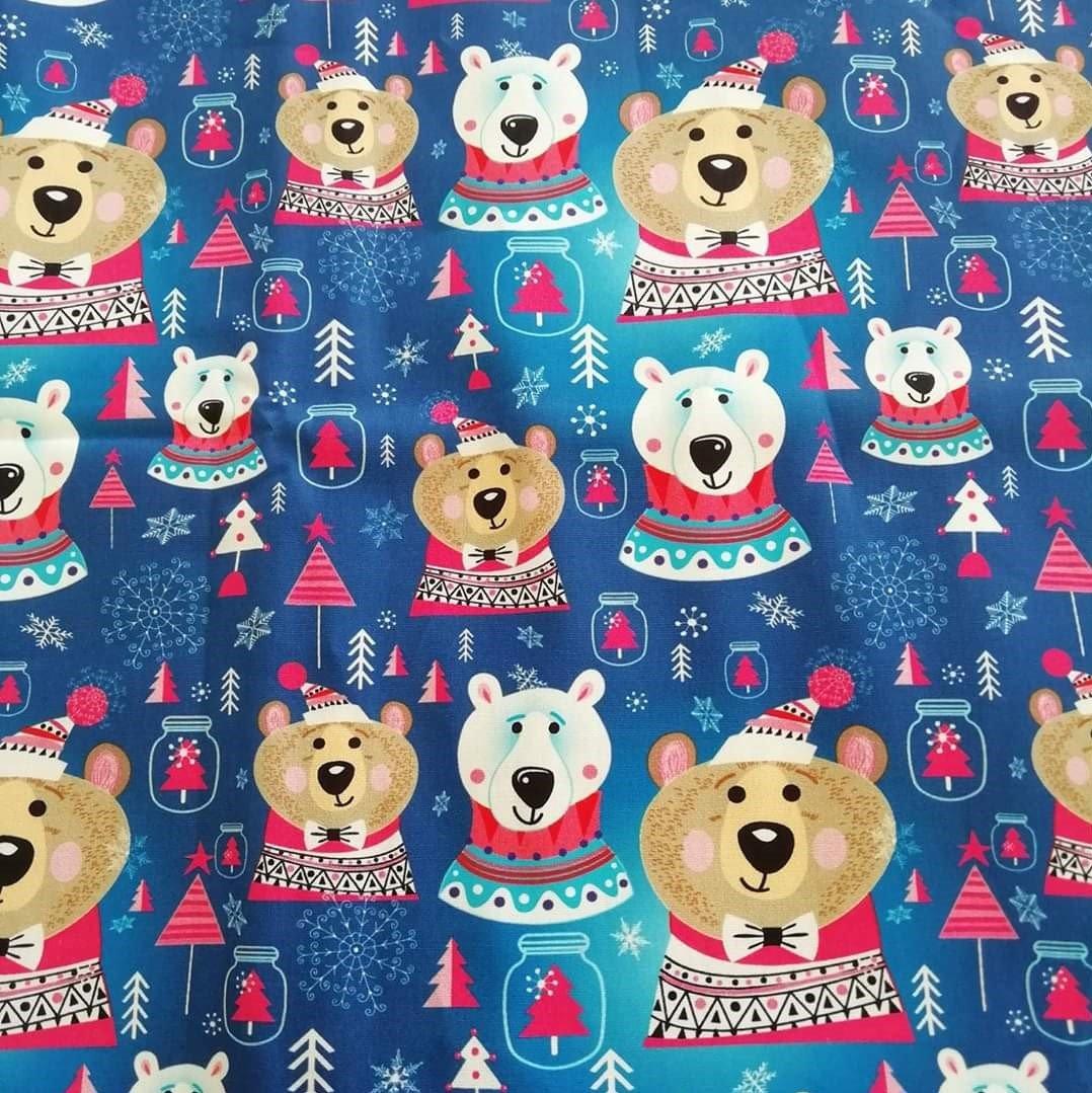 Tecido Christmas Bears