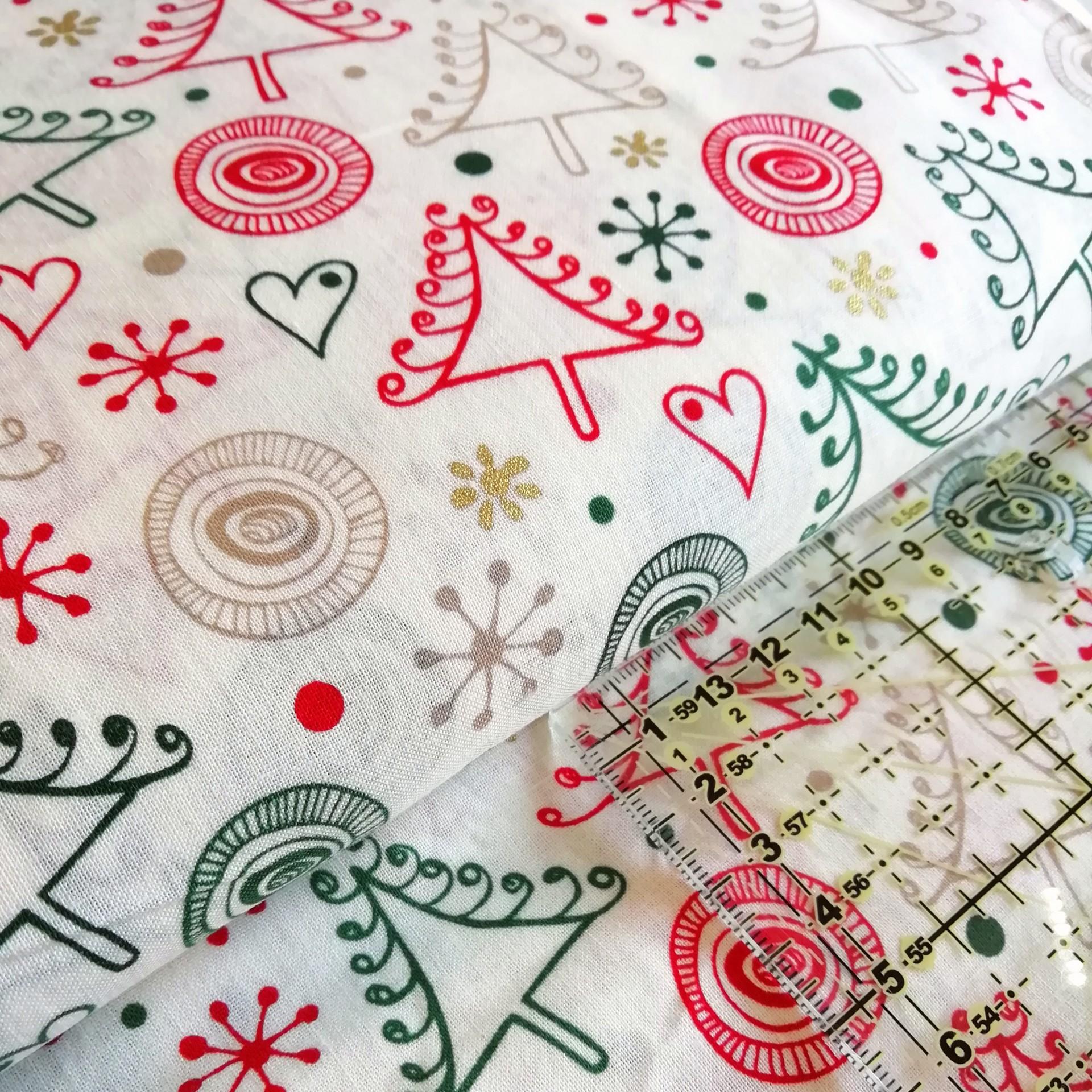 Tecido Natal happy trees