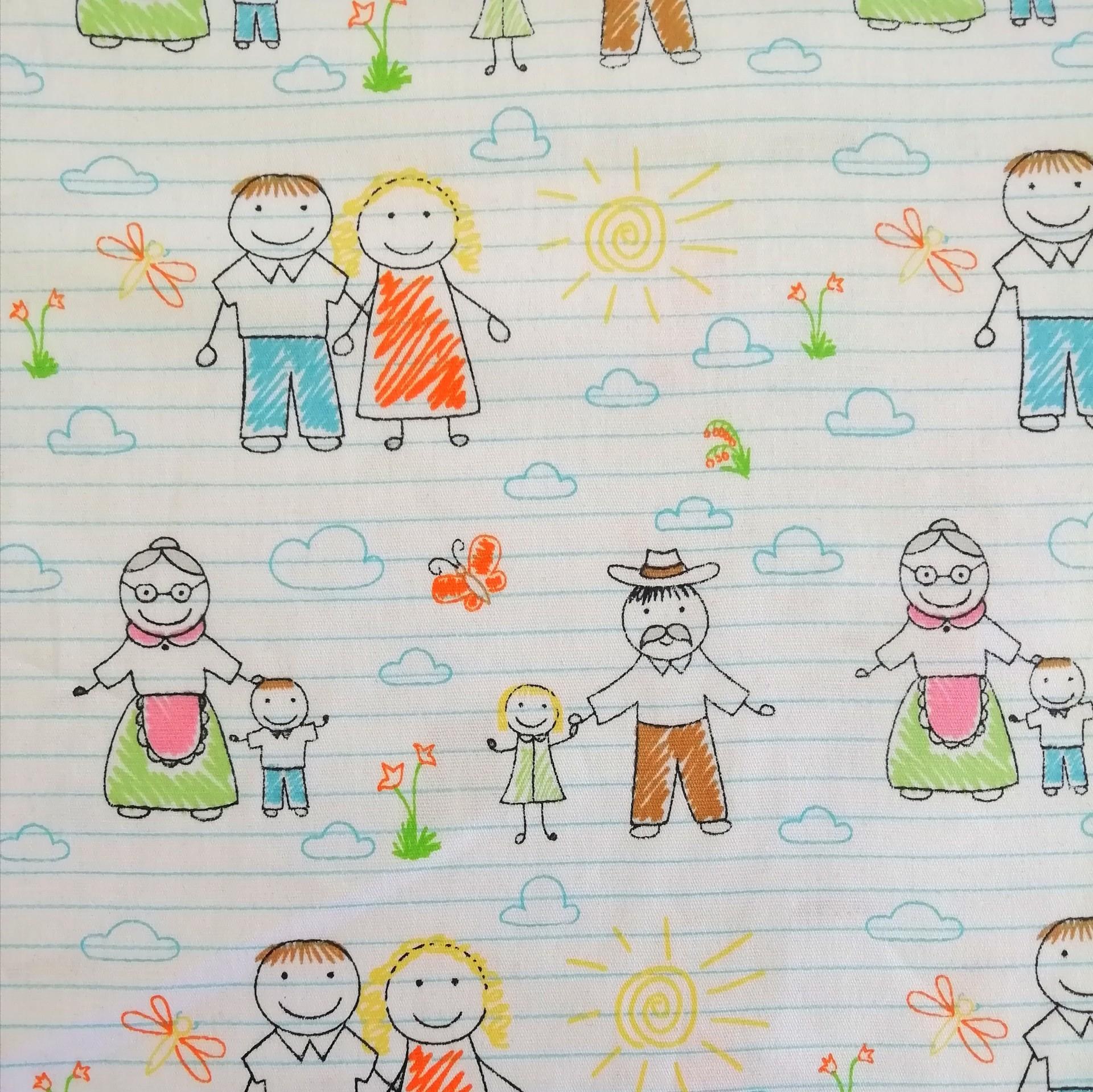 Tecido Fabricart - Família ao sol