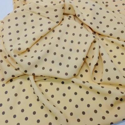 Tecido leve de Confecção / bolas castanhas e fundo bege
