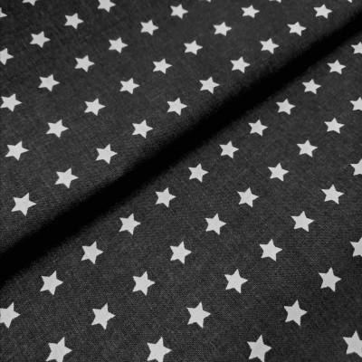 Tecido Estrelas brancas fundo preto