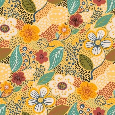 Tecido Fabricart - contemporâneo floral amarelo