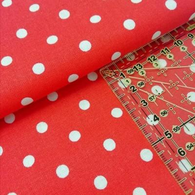 Tecido Polka dots vermelho e branco