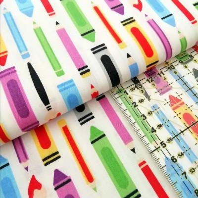 Tecido Fabricart - Lápis e pincéis