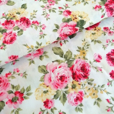 Tecido Fabricart - floral - fundo cru