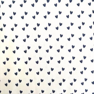 Tecido Fabricart - mini corações pretos